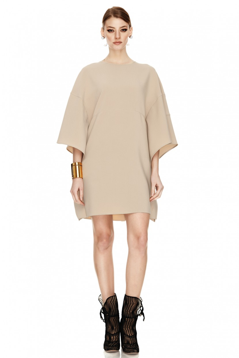 Beige Mini Dress With Oversized Sleeves - PNK Casual