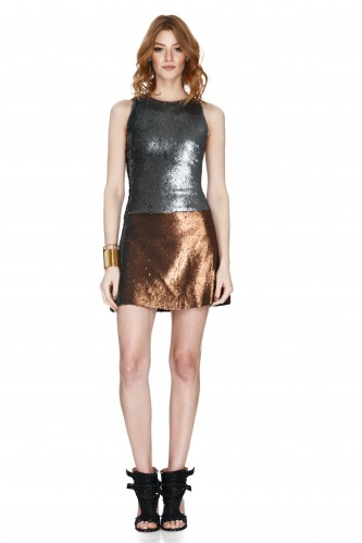 Silver And Copper Sequins Mini Dress - PNK Casual