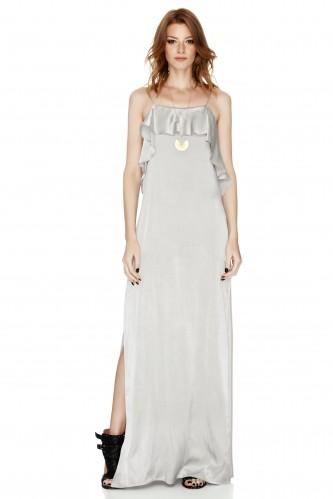Grey Satin Maxi Slip Dress - PNK Casual