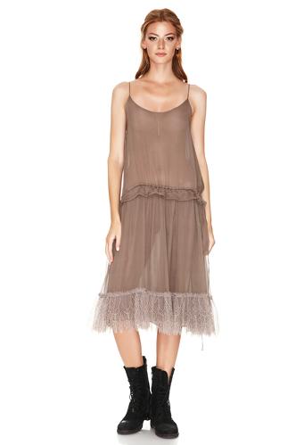 Light Brown Silk Midi Dress - PNK Casual