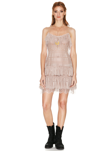 Rose Chantilly Lace Mini Dress - PNK Casual