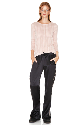 Black Silk Track Pants With Side Detail - PNK Casual