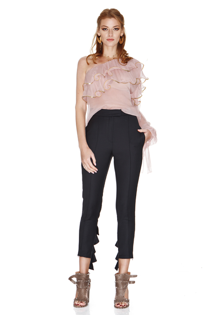 Black Pants With Ruffles