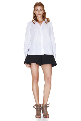 White Shirt With Back Ruffle - PNK Casual