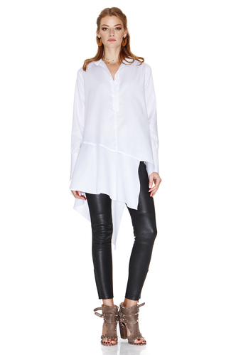 White Shirt With Asymmetric Detail - PNK Casual