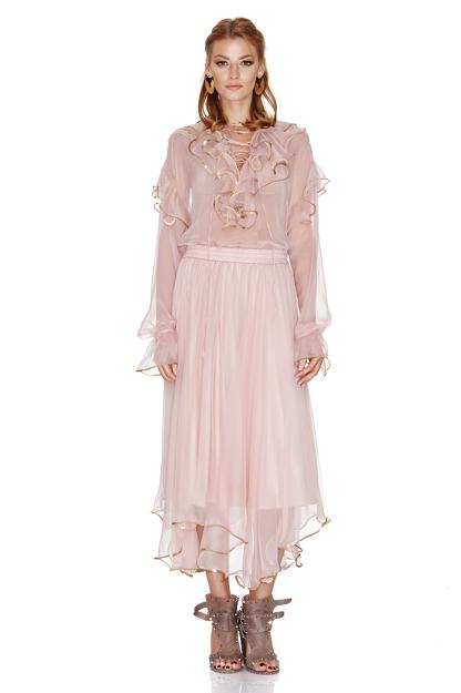 Rose Silk Chiffon Blouse