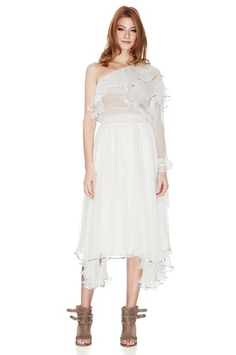 White Silk Chiffon One Shoulder Midi Dress - PNK Casual