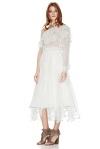 White Silk Chiffon One Shoulder Midi Dress