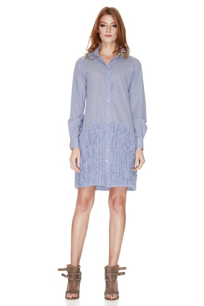 Blue Striped Cotton Poplin Dress