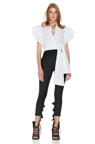 White Wrap-Effect Top - PNK Casual