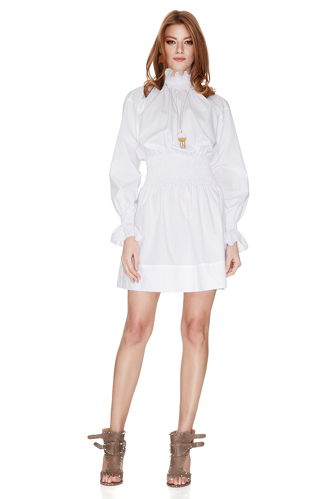 White Cotton Poplin Mini Dress - PNK Casual