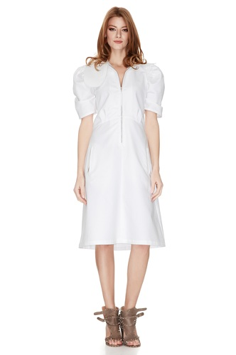 White Cotton Poplin Midi Dress - PNK Casual