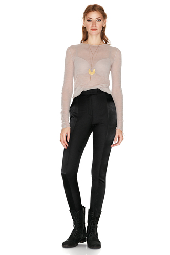 Black Wool And Satin Pants - PNK Casual
